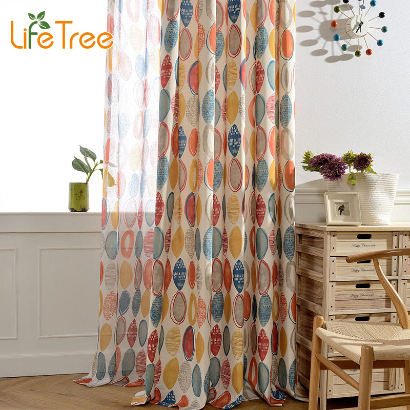 Blue Red Circles Printed Modern font b Curtains b font For Living Room Bedroom Voile font