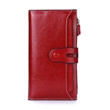 Dreamlizer mulheres reais carteira de couro genuíno feminino longo bolsa de embreagem de couro senhora telefone bolsa de moedas bolsa carteira femininaCarteiras