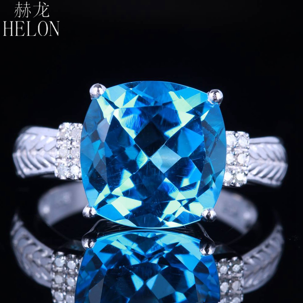 HELON Romantic Certified Cushion 10mm Swiss Blue Topaz Diamonds Ring Solid 14K White Gold For Women Engagement Gift Fine JewelryHELON Romantic Certified Cushion 10mm Swiss Blue Topaz Diamonds Ring Solid 14K White Gold For Women Engagement Gift Fine Jewelry