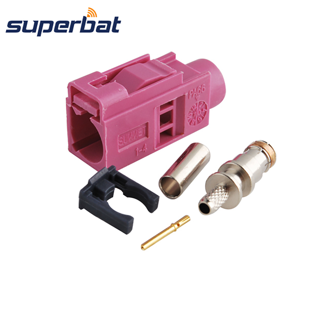 Superbat RF Coax Connector Antenna Connector Fakra Crimp Female Jack Key Code H Violet For GPS,XM Direct For RG316 RG174 LMR100