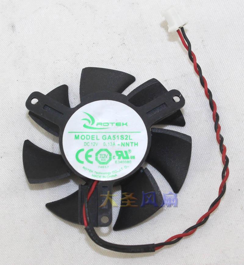 Orignal Graphics Card Cooling Fan APISTEK GA51S2L GA51S2H -NNTK 12V 0.13A 0.18A 2Lines