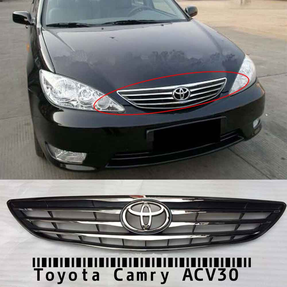 buy front chrome grille with logo for toyota camry acv30 2 4 2004 2005 2006. Black Bedroom Furniture Sets. Home Design Ideas