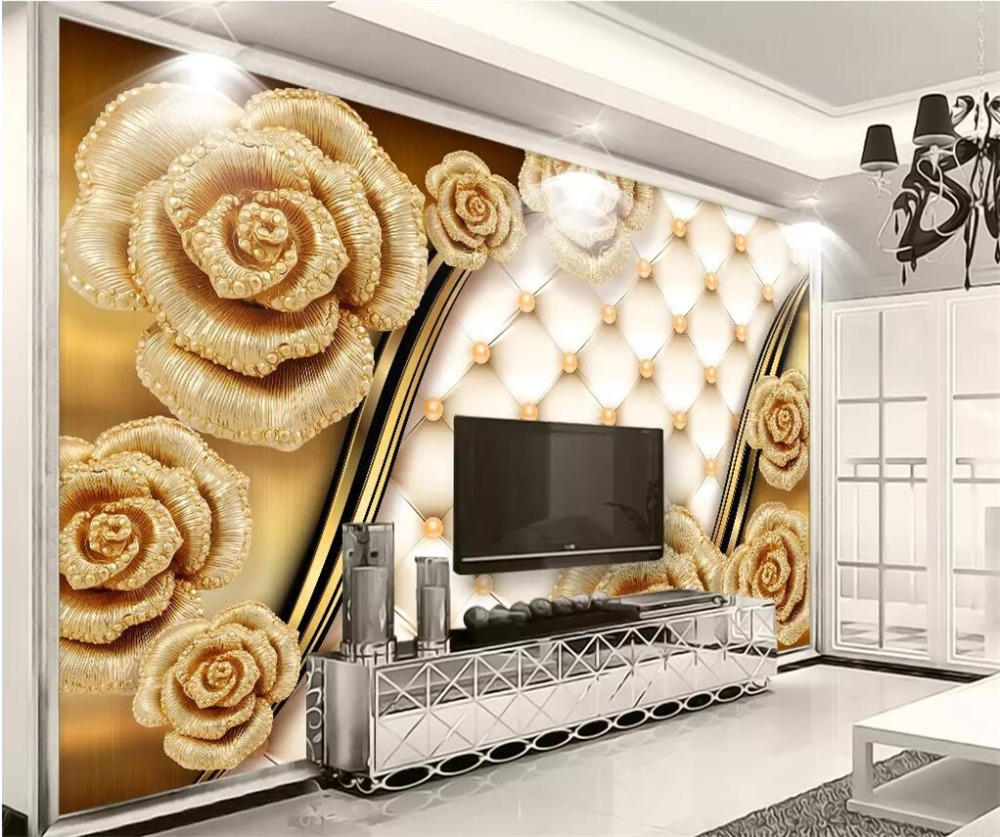 Beibehang Custom Photo Wallpapers 3d Luxury Gold Roses