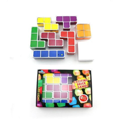 7 cores diy tetris quebra cabeca luz empilhavel