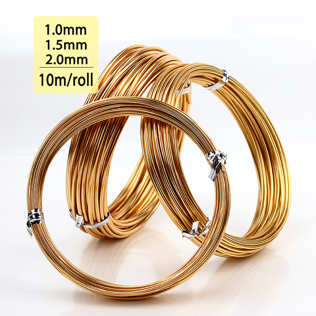 1mm 15mm 20mm champagne gold colored aluminum jewelry craft soft wire coil 10m - Fil D Aluminium Color