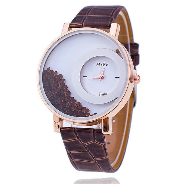 MEIBO Fashion Leather Strap Women Rhinestone Wrist Watch Casual Women Dress Watc