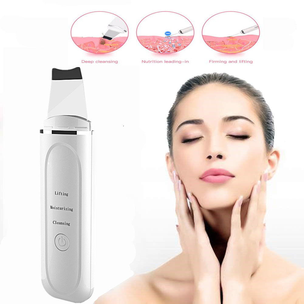 Skin Scrubber Facial Skin Scrubber Electric SPA Gentle Blackhead Remover Ultrasonic Facial Cleaner Spatula Face Lifting Massager