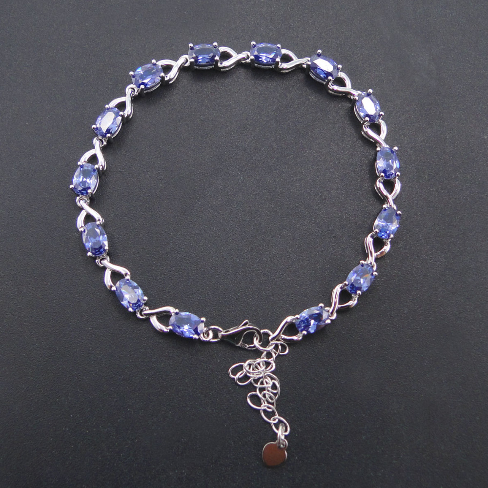 100 925 Sterling Silver Bracelet Stamped S925 Oval Blue Created Sapphire Tanzanite Fine Women Jewelry with