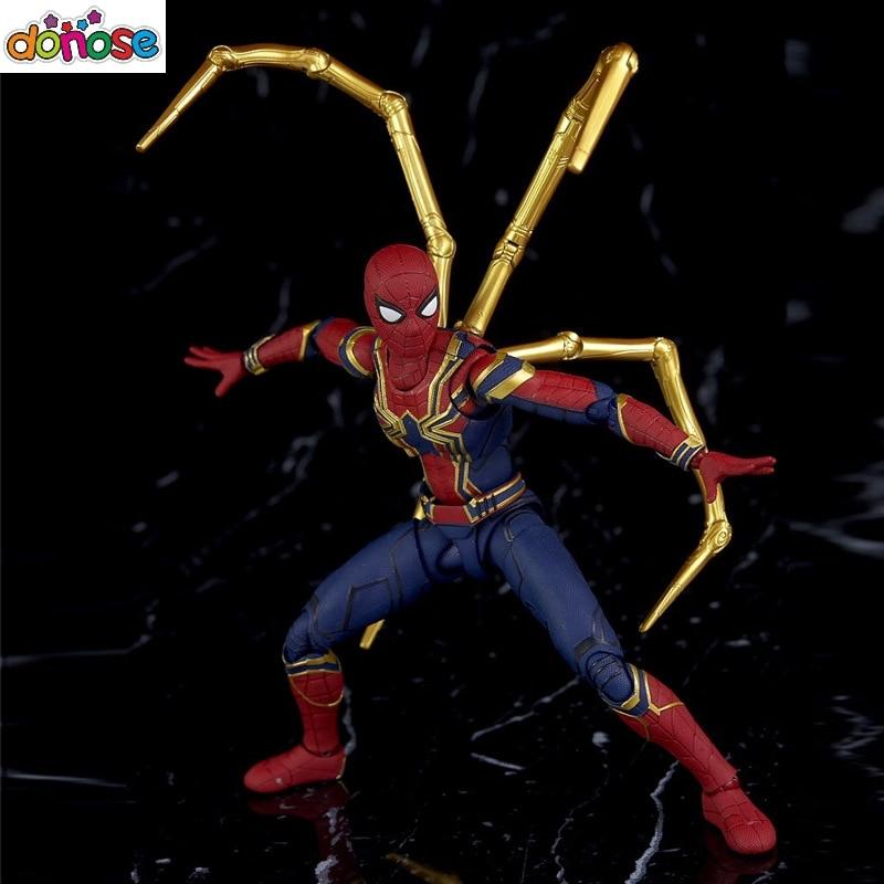 spiderman-cartoon-font-b-avengers-b-font-infinity-war-action-figure-sh-figuarts-bright-gold-spider-mark-iron-spider-model-kids-toy