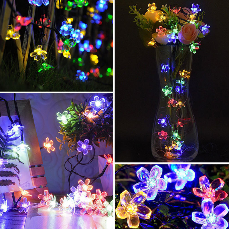 Cherry Blossom Flower Garland Battery Powered LED String Fairy Lights Crystal Flowers For Indoor Wedding Christmas Decors Purple 5
