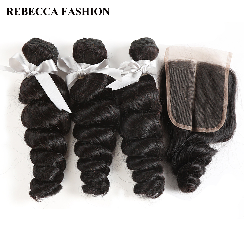 Rebecca Non Remy Loose Wave Brazilian Human Hair 3 Bundles With Closure 4x4 Brazilian Loose Wave With Lace Closure Free Shipping