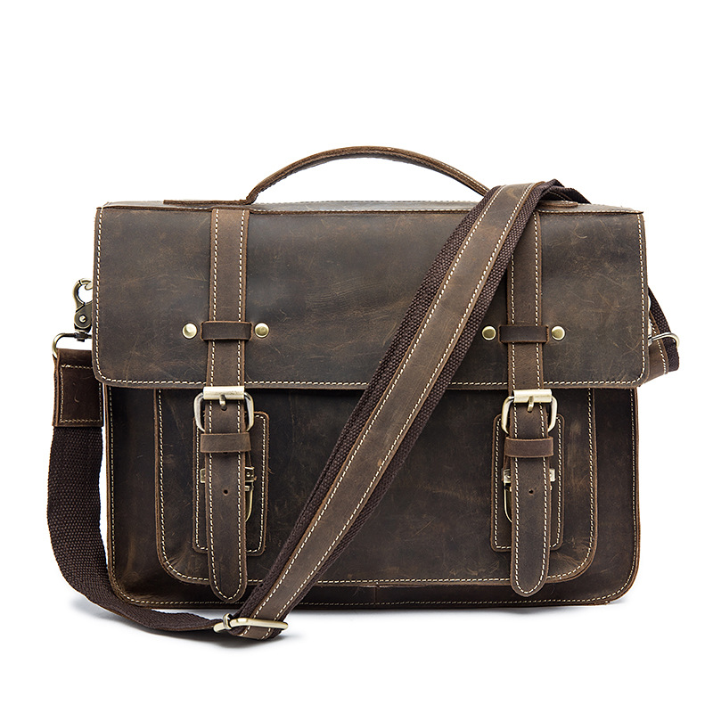 High Grade Crazy Horse Leather Men Briefcase Vintage Genuine Leather Bag Casual Fashion 13