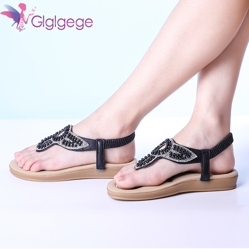 Glglgege 2018 Flat Heel Crystal Sandals Ladies Summer Beach Shoes Women Rome Shoes Flip Flops Sandles Zapatos Mujer Sandalias
