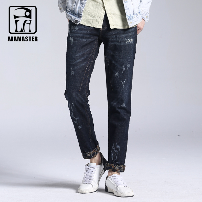 Mens Winter Thin Velvet Jeans Classic Stretch Warm Denim Straight Hole Pants Elastic Male Jeans Designer Men's Warm Trousers