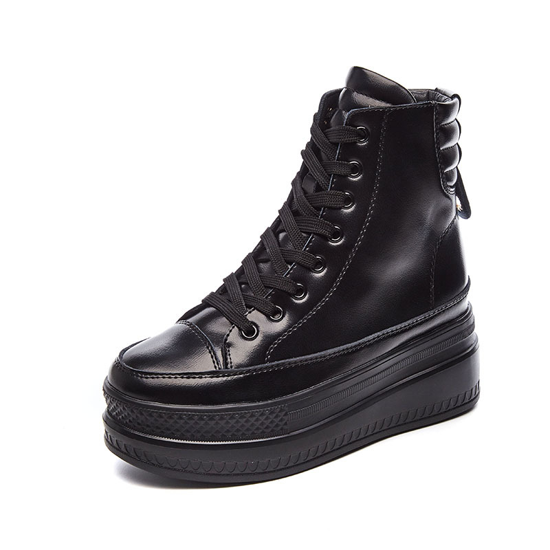 Spring Autumn Wedge Ankle Boots Women Platform Boots High Top Rubber Sole Lace Up Black Leather