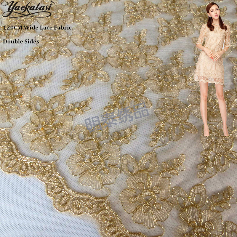 YACKALASI Dress Lace Fabrics Gold Embroidered Floral 3D Bridal Trims Lace  Fashion Fabrics Double Borders 120cm Wide-in Lace from Home & Garden on ...