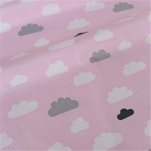 new 16050cm pink back cloud printed 100 cotton fabric telas patchwork diy quilt baby toy tissue sewing bedding textil tecido