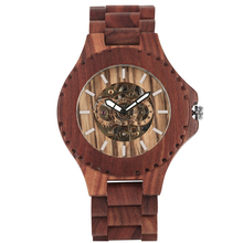 Mens Wood Watch Automatic self winding Wooden Watch Attractive Red Sandalwood Wooden Mechanical Wristwatches for Boy