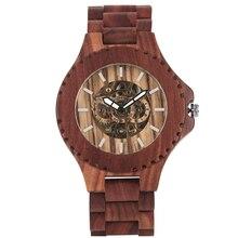 Montre en bois pour hommes automatique montre en bois à remontage automatique attrayant rouge bois de santal montres mécaniques en bois pour garçon