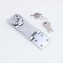 цена High Quality 5PCS Cabinet Boxes Lock Closet Door Chrome Plated Metal Keyed Hasp Lock 2.5