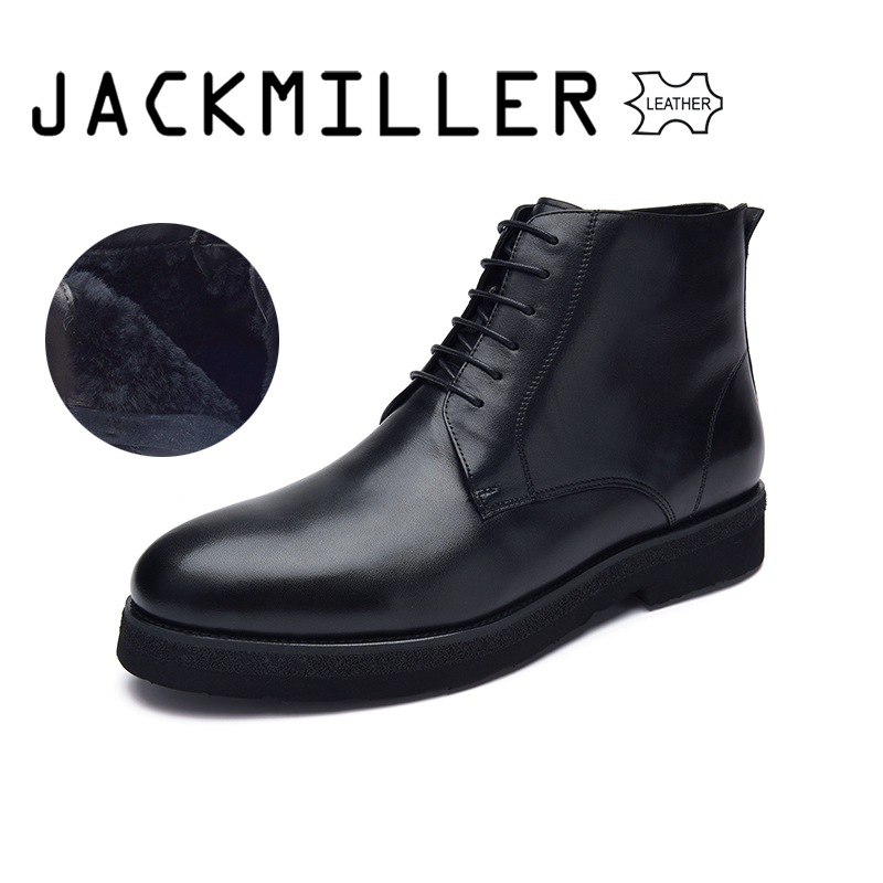 Jackmiller Top Brand Winter Men Boots Cow Leather Wool Warm Lace Up Leather Ankle Boots for