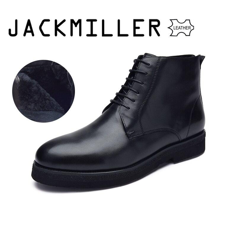 Jackmiller Top ฤดูหนาวผู้ชายรองเท้าหนังวัวขนสัตว์ Warm Lace Up ข้อเท้ารองเท้าสำหรับชายแฟชั่นสีดำรองเท้าขนาด 40 44-ใน รองเท้าบูทแบบเบสิก จาก รองเท้า บน   1
