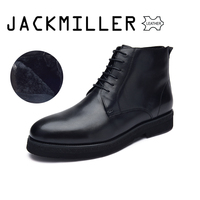 Jackmiller winter men boots cow leather natural wool warm lace up leather ankle boots for men black fashion boots size 40 44