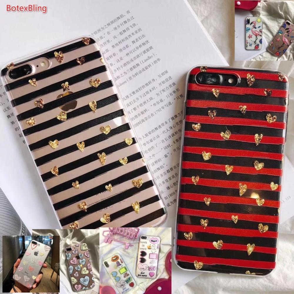 BotexBling Simple transparent stripes love cute flamingo soft silicone case for iphone X 7 7plus 8 8plus 6 6s plus 6plus cover