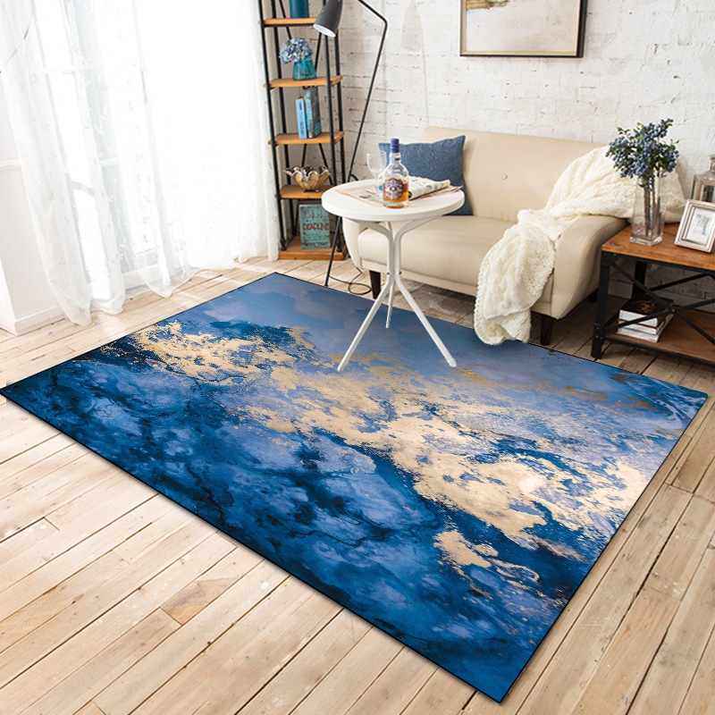 Nordic INS abstract blue coast carpet living room bedroom bedside entrance elevator floor mat sofa coffee table anti slip carpet-in Carpet from Home & Garden