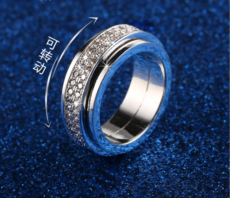 New summer Inlaid Crystal from Swarovski ring For Women Fashion 925 Jewelry Rings Wholesale Rotatable Wedding Ring ...