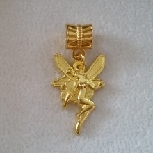 New Gold Flower Fairy Dangle Alloy Big Hole Beads Charms Fit European Charm Bracelets Bangles Jewelry DIY