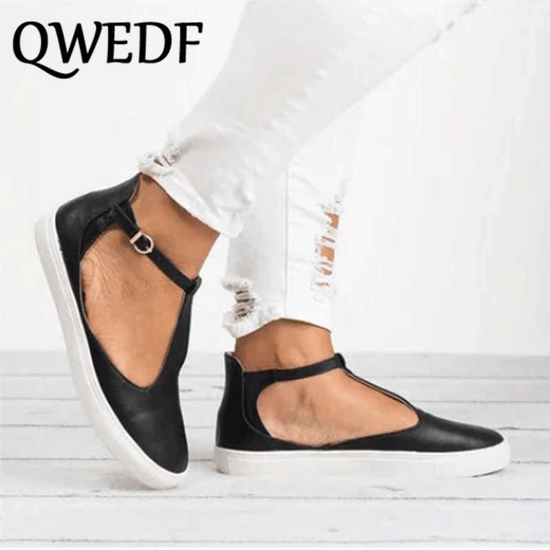QWEDF Women Sandals Plus Size Summer Female Flat Shoes 2019 T Strap Platform Woman Buckle Strap Sandal Casual Ladies SC-06