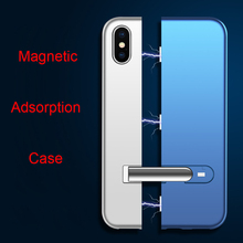 360 Magnetic Adsorption Case for iphone XS Max High-end PC Back Cover XR X 8 7 6 6S Plus Kickstand