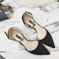 2017 New Arrival Women's Black Pumps Pointed Toe Ankle Strap Microfiber High Heels 5.5cm Zapatos Mujer Tacon Women Pumps