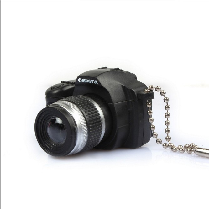 Fashion Simulation SLR Camera Key Rings Trinket LED Light Voice Keychain font b Toys b font