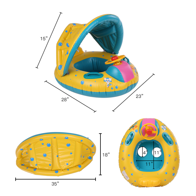 Safe Inflatable Baby Swimming Ring Infant Swimming Float Adjustable Sunshade