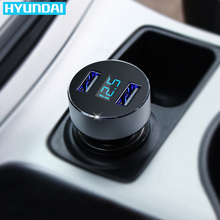 HYUNDAI Car Charger 5V 2.1A+1A Quick Charge Dual USB Port LED Display Cigarette Lighter Phone Adapter Car Voltage Diagnostic