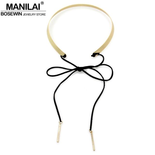 MANILAI Simple Choker Necklace For Women Choker Bowknot Metal Torques Bib Collar Long Black Leather Statement Necklaces Pendants