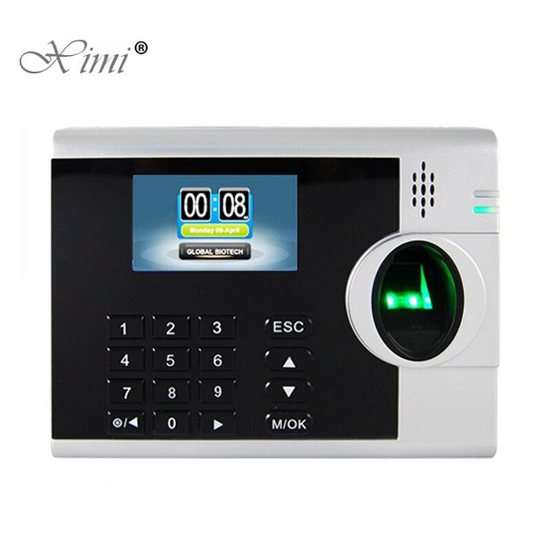 Tcp/ip LAN WAN ADMS biométrique d'empreintes digitales temps de présence horloge optique lecteur d'empreintes digitales fonction d'imprimante en option XM218