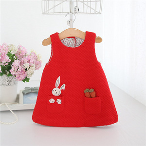 Image 2 - Newborn Autumn Rabbit and Carrot Appliques Baby Girls Infant Dress&clothes Kids Party Birthday Christening Dress 0 2T