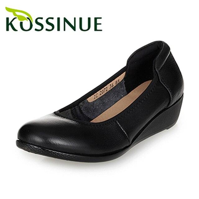 Плюс размер 35-43 новых женщин осень обувь ручной работы удобная натуральная кожа повседневная женская черный клин кожаные ботинки рабочая обувь