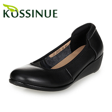 Plus size 35-43 new women autumn shoes handmade comfortable genuine leather casual women's black wedge leather shoes work shoes