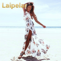 Laipelar Floral Print Halter Chiffon Long Dress Women Backless 2018 Maxi Dresses Vestidos Sexy White Split Beach Summer Dress