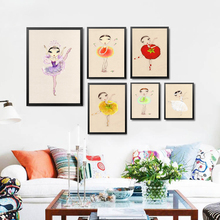 Cartoon Dance Little Girls Art Prints Poster Kids Girl Picture For Children Room Home Decor Wall Canvas Painting