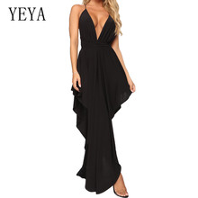 YEYA Sexy Deep V-neck Hollow Out Maxi Dress New Arrival Off Shoulder Asymmetrical Summer Elegant Party Femme Clothing