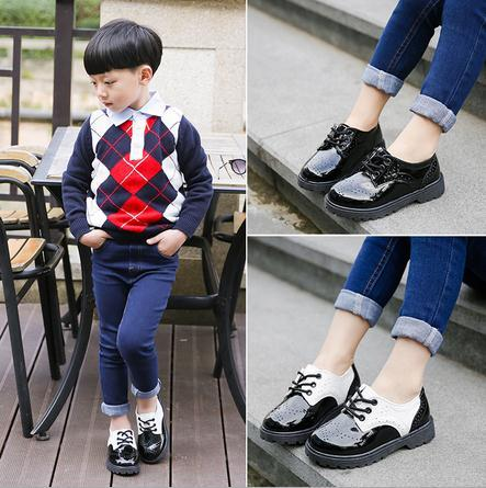 2016 autumn winter new children shoes PU leather solid color cute kids casual shoes retro boys girls fashion short boot