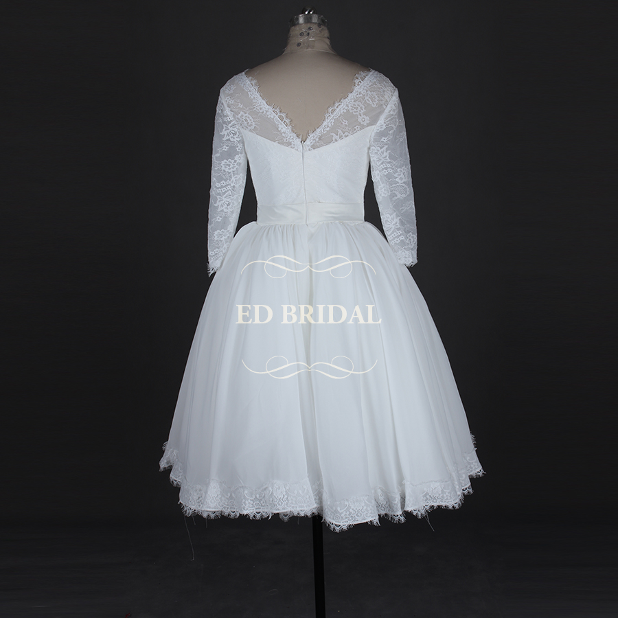 Lace Three Quarter Sleeves Tea Length Puffy Ball Gown 1950s Vintage ...