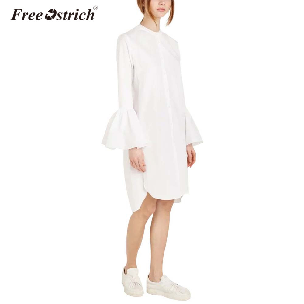 Free Ostrich Shirt Summer Women Dress 2018 Casual Solid Flare Sleeve O Neck Straight Elegant Woman Bloues Tops Dropshipping