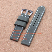 Handmade Soft Leather Watch Band For Pam 24mm Pam00183 00441 Strap, 24MM Calfskin Leather Strap army green classic,Fast Delivery