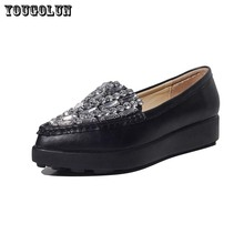 Women Flat Platform Shoes Pointed Toe Med Heels(3.5cm) Casual Shoe Woman Top Quality Genuine Leather Ladies Slip-on Black White